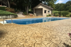 Bomanite Pool Deck sealed using Bomanite Imprint Systems with Bomacron Textured Pattern Imprinted Concrete by Clark's Concrete Construction.