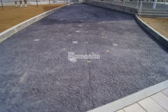 Bomanite Imprint Systems are featured here with a custom Bomanite Chipped Shale imprint pattern that was chosen to create a decorative concrete riverbed and splashpad at Redbud Festival Park and adds durability and distinct design detail to the hardscape surfaces.
