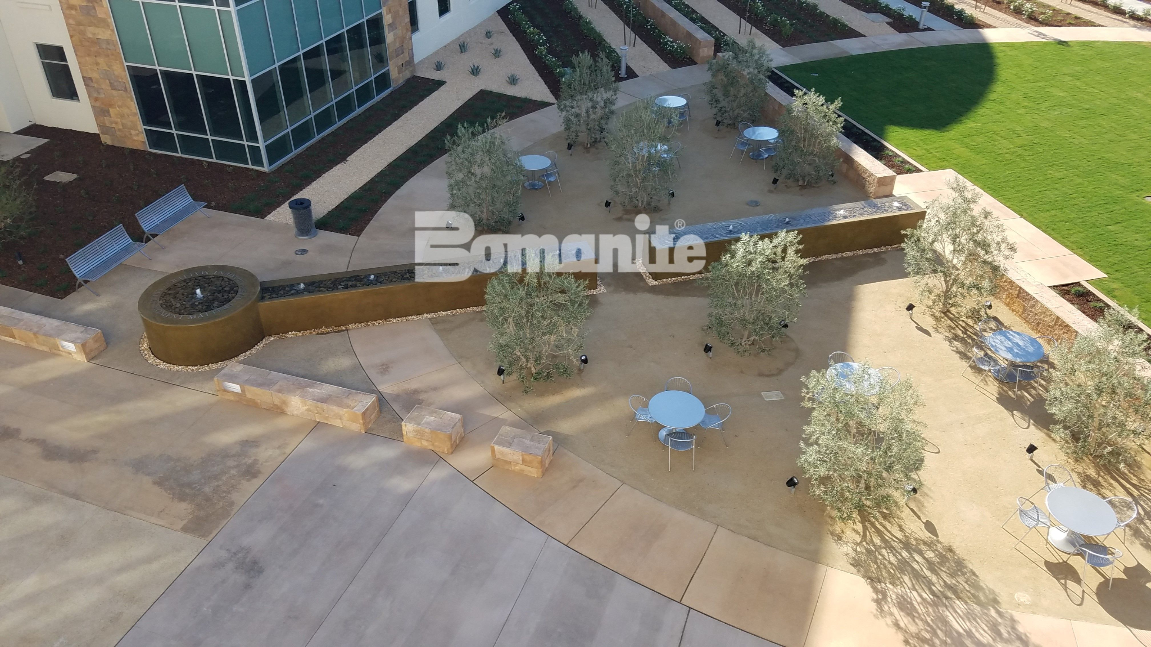 Aerial view of te Clovis Cancer Institute and Hospital showing the award winning fountain constructed with Bomanite Coloration Systems decorative cement in Clovis, CA.
